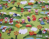 Flannel Fabric - Harmony Farm Main Green - By the yard - 100% Cotton Flannel