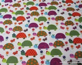 Flannel Fabric - Bright Turtles - By the yard - 100% Cotton Flannel
