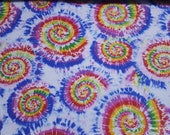 Flannel Fabric - Classic Tie Dye - By the yard - 100% Cotton Flannel