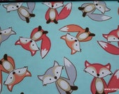 Flannel Fabric - Smiling Fox on Aqua - By the yard - 100% Cotton Flannel