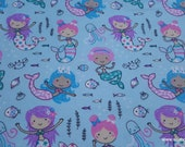 Flannel Fabric - Princess Mermaids - By the Yard - 100% Cotton Flannel