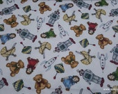 Christmas Premium Flannel Fabric - Christmas Joys Toys on White Premium  - By the yard - 100% Cotton Flannel