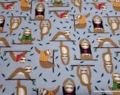 Flannel Fabric - Yoga Sloth - By the Yard - 100% Cotton Flannel
