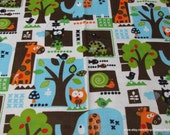 Flannel Fabric - Cute Animals - By the yard - 100% Cotton Flannel