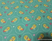 Flannel Fabric - Cute Birds - By the yard - 100% Cotton Flannel