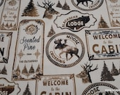 Flannel Fabric - Black Bear Lodge Sketched - By the Yard - 100% Cotton Flannel