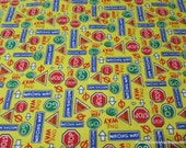Flannel Fabric - Street Signs on Yellow - 1 yard - 100% Cotton Flannel