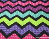 Flannel Fabric - Fun Chevron - By the yard - 100% Cotton Flannel