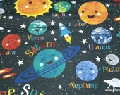 Flannel Fabric - Happy Solar System - By the yard - 100% Cotton Flannel