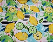 Flannel Fabric - Lemons and Limes - By the yard - 100% Cotton Flannel