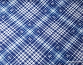 Christmas Flannel Fabric - Snowflakes on Plaid - By the yard - 100% Cotton Flannel