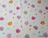 Flannel Fabric - Bright Tossed Owl - By the yard - 100% Cotton Flannel