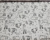 Flannel Fabric - Jungle Alphabet - By the yard - 100% Cotton Flannel