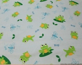 Flannel Fabric - Dragonflies and Frogs - By the yard - 100% Cotton Flannel