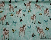 Flannel Fabric - Springtime Deer - By the yard - 100% Cotton Flannel