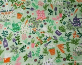 Flannel Fabric - Garden Party Mint Green - By the yard - 100% Cotton Flannel