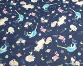 Flannel Fabric - Unicorns Narwhals Orchestra on Navy - By the yard - 100% Cotton Flannel
