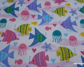 Flannel Fabric - Sea Friends Colorful - By the yard - 100% Cotton Flannel
