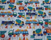 Flannel Fabric - Construction Trucks in Line - By the yard - 100% Cotton Flannel