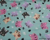 Flannel Fabric - Cat Faces Multi - By the yard - 100% Cotton Flannel