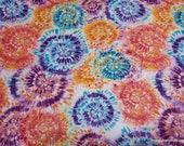 Flannel Fabric - Orange Blue Tie Dye - By the yard - 100% Cotton Flannel