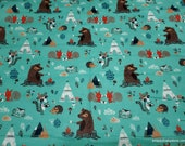 Flannel Fabric - Camping Critters - By the yard - 100% Cotton Flannel