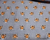Flannel Fabric - Tiger Face on Gray Luxe - By the yard - 70% Rayon, 30 Cotton