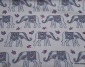 Flannel Fabric - Wildflower Elephants - By the yard - 100% Cotton Flannel