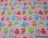 Flannel Fabric - Tree Party Owls Pink - By the yard - 100% Cotton Flannel