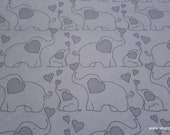 Flannel Fabric - Elephants Gray - By the yard - 100% Cotton Flannel