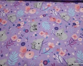 Flannel Fabric - Sweet Koala Floral - By the yard - 100% Cotton Flannel