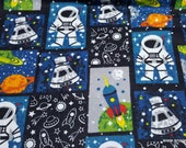 Flannel Fabric - Astronaut Patchwork - By the yard - 100% Cotton Flannel