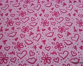 Flannel Fabric - Graffiti Love Pink - By the yard - 100% Cotton Flannel