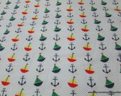 Flannel Fabric - Sailboats Anchors Dots - By the yard - 100% Cotton Flannel