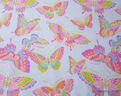 Flannel Fabric - Colorful Butterflies Blue - By the yard - 100% Cotton Flannel