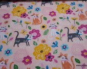 Flannel Fabric - Floral Cat - By the yard - 100% Cotton Flannel