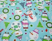 Christmas Flannel Fabric - Scribbled Snowmen - By the yard - 100% Cotton Flannel