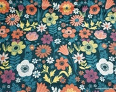 Flannel Fabric - Large Floral Dark Teal - By the yard - 100% Cotton Flannel