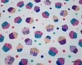Flannel Fabric - Yummy Cupcakes - By the yard - 100% Cotton Flannel