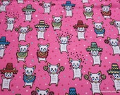 Flannel Fabric - Mariachi Dogs on Hot Pink - By the yard - 100% Cotton Flannel