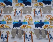 Flannel Fabric - Zoo Animals at the Zoo - By the yard - 100% Cotton Flannel