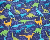 Flannel Fabric - Colorful Dinos on Navy - By the yard - 100% Cotton Flannel