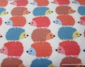 Flannel Fabric - Stacked Hedgehogs - By the yard - 100% Cotton Flannel