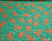 Christmas Flannel Fabric - Gingerbread People - By the yard - 100% Cotton Flannel