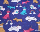 Flannel Fabric - Puppycorns and Rainbows - By the yard - 100% Cotton Flannel