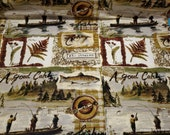 Flannel Fabric - Fishing Patchwork Wilderness - By the yard - 100% Cotton Flannel