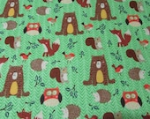 Flannel Fabric - Woodland Friends Green - By the yard - 100% Cotton Flannel