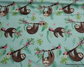 Flannel Fabric - Hanging Sloths Floral - By the Yard - 100% Cotton Flannel