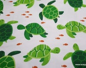 Flannel Fabric - Happy Turtle - By the yard - 100% Cotton Flannel