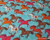 Flannel Fabric - Colorful Running Horses - By the yard - 100% Cotton Flannel